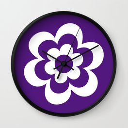Purple And White Flower Wall Clock