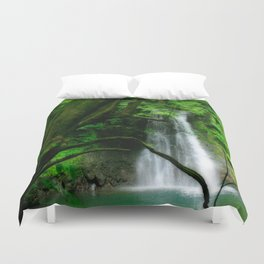 Waterfall in Azores islands Duvet Cover