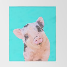 Baby Pig Turquoise Background Throw Blanket
