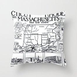 Vintage Illustrative Southern New England States Map (1912) Throw Pillow