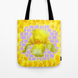ABSTRACT YELLOW SPRING IRIS GOLDEN DAFFODILS FRAME Tote Bag