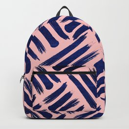 Textured Blue and Pink Lines Backpack