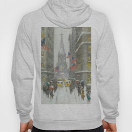 Wall Street and the Sub-Treasury winter landscape painting by Guy Carleton Wiggins Hoody