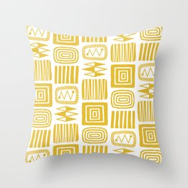 Retro Mid Century Modern Check Pattern 225 Yellow Throw Pillow