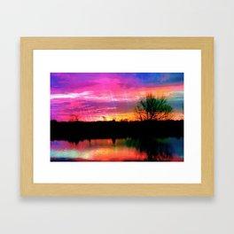 Watercolor January Texas Sunrise Framed Art Print