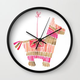 Mexican Donkey Piñata – Pink & Rose Gold Palette Wall Clock