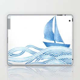 Blue sailboat, watercolor nautical ocean waves sea Laptop & iPad Skin