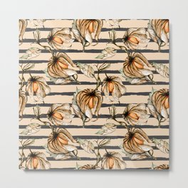 Watercolor pattern with physalis and stripes. Hand painting. Metal Print