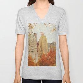 Autumn - Central Park - Fall Foliage - New York City Unisex V-Neck
