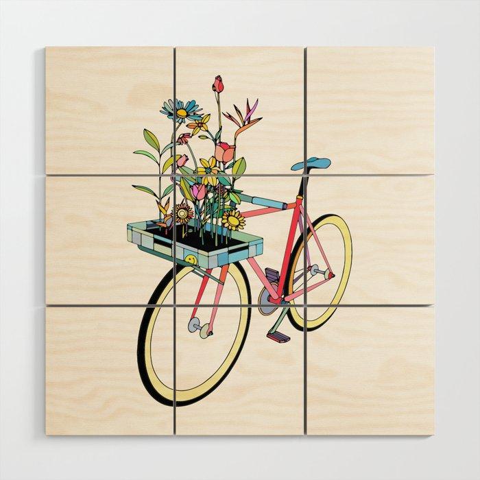 Bike and Flowers Wood Wall Art