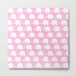 Elephant Parade on Pink Metal Print
