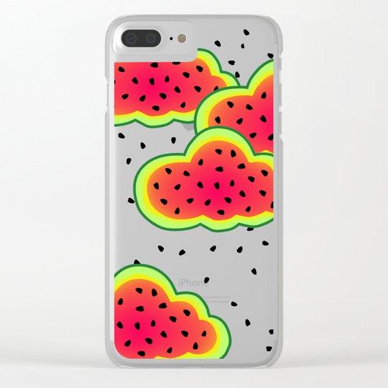 Watermelon Clouds Design Clear iPhone Case