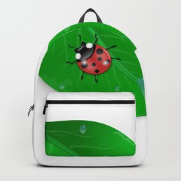 Green leaf and ladybird Backpack