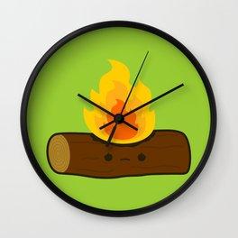 Sad log on fire Wall Clock