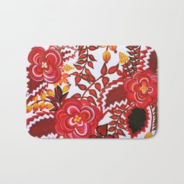 Red And Black Floral Gouache & Acrylic Slavic Folk Art Bath Mat
