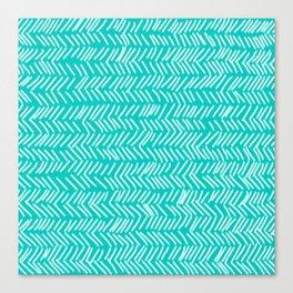 Turquoise Herringbone Lines Canvas Print