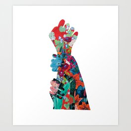 Quilted Floral Fist Art Print