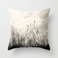 grass Throw Pillows featuring Grass by Angela Fanton