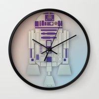starwars Wall Clocks featuring StarWars R2D2 by Joshua A. Biron