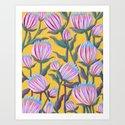 Bold Protea Flower Pattern - Pink Blue Green Purple Yellow by sewzinski
