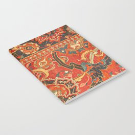 Red Arabic Rug I // 17th Century Colorful Firey Red Light Teal Sapphire Navy Blue Ornate Pattern Notebook