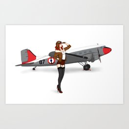 Pin-up aviator Art Print