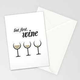 First, White Wine Stationery Cards
