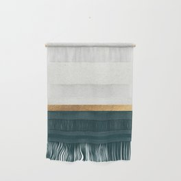 Deep Green, Gold and White Color Block Wall Hanging