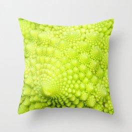 Closeup on Green cauliflower Throw Pillow