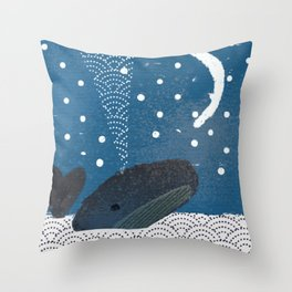 The Whale And The Moon Throw Pillow