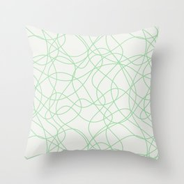 Pastel Green Scribbled Lines Abstract Hand Drawn Mosaic on Off White 2020 Color of the Year Neo Mint Throw Pillow