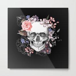 Dia Los Muertos, Floral Skull Metal Print