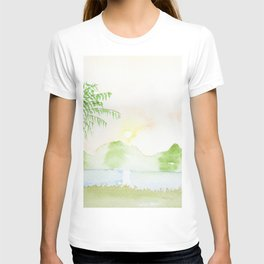 Palm tree in a sunset T-shirt