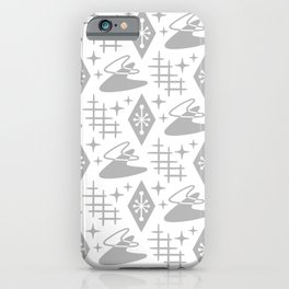 Mid Century Modern Space age Boomerang Pattern 351 Gray iPhone Case