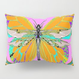 Gold Monarch Butterfly Dragonfly Morphing Pink Fantasy Abstract Pillow Sham