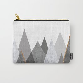 Marble Gray Copper Black and White Mountains Carry-All Pouch