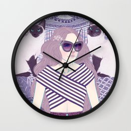 Hey there kitty! LAVENDER Wall Clock