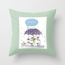 Sheep in the Rain - Green Throw Pillow