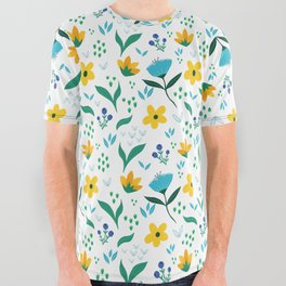 Summer flowers in yellow and blue in white background All Over Graphic Tee