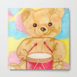 Drumming teddy bear Metal Print