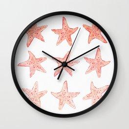 Coral Pink Watercolor Starfish Wall Clock