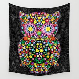 Owl Zentangle Floral   Wall Tapestry