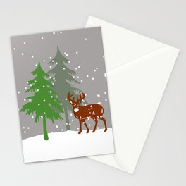 Christmas Tree Reindeer Snowflakes  Stationery Cards