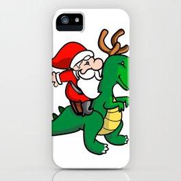 santa and dino iPhone Case