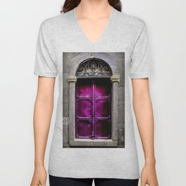 Magical Metallic-Purple European Doorway Photograph Unisex V-Neck