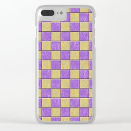 Purple and gold tiles pattern Clear iPhone Case