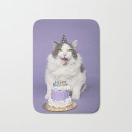 Happy Birthday Fat Cat In Party Hat With Cake Bath Mat