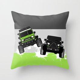 Green+Black Couple Throw Pillow