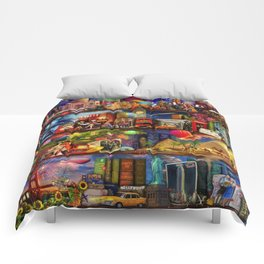 World Travel Book Shelf Comforters