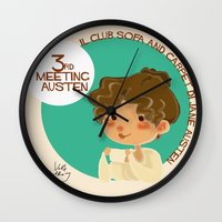 jane austen Wall Clocks featuring Jane Austen 3RD meeting Austen by Vale Bathory